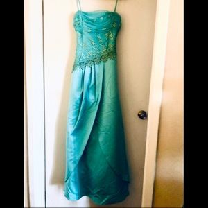 Princess Teal Blue Long Formal
